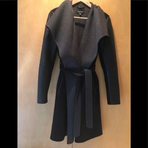 Mackage grey and black leather-sleeve trench